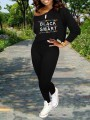 "Black Monogram ""BLACK AND SMART"" Print Off One Shoulder Long Sleeve Two Piece High Waisted Casual Long Jumpsuit"