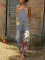 Grey Flowers Print Buttons Pockets Fashion Jeans Overall Pants Long Jumpsuit