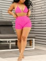 Pink Patchwork Sequin Grenadine V-neck Bra Lace-up Two Piece High Waisted Clubwear Glitter Sparkly Birthday Party Short Jumpsuit Pants