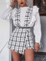White Plaid Studded Zipper High Waisted Overall Pants Short Jumpsuit