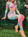 Rainbow Colorful Tie Dye Zipper V-neck Long Sleeve High Waisted Crop Yoga Suits Sports Long Jumpsuit
