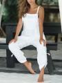 White Pockets Mid-rise Oversize Beach Overall Pants Long Jumpsuit