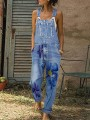 Light Blue Floral Pocket Spaghetti Strap Oversize Long Denim Jumpsuit