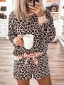 Pink Leopard Bow Two Piece Sleepwear Long Sleeve Elegant Short Jumpsuit