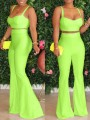 Neon Green Shoulder-Strap V-neck Two Piece High Waisted Flare Bell Bottom Long Jumpsuit