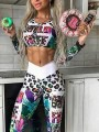 White Leopard Pattern High Waisted Two Piece Sports Yoga Long Jumpsuit