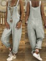 Grey Patchwork Shoulder Strap Loose Collarless Sleeveless Fashion Jumpsuits