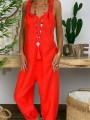Red Oversize Backless High Waisted Fashion Long Overall Pants