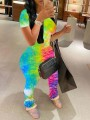Yellow Rainbow Tie Dyeing Two Piece Pleated Scrunch Casual Long Jumpsuit