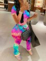 Fuchsia Rainbow Tie Dyeing Two Piece Pleated Scrunch Casual Long Jumpsuit