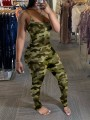 Green Camouflage Spaghetti Strap Scrunch Bodycon Casual Long Jumpsuit