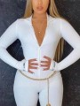"White ""LUCKY LABEL"" Letter Print Zipper Band Collar Long Sleeve Bodysuit Short Jumpsuit With Gloves"