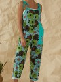Green Flowers Print Pockets High Waisted Long Jumpsuit Overall Pants