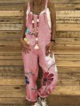 Pink Floral High Waisted Fashion Long Jumpsuit Overall Pants