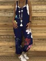 Navy Blue Floral High Waisted Fashion Long Jumpsuit Overall Pants