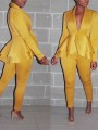 Yellow Patchwork Layers Of Ruffle Tailored Collar V-neck Long Sleeve Peplum Blazer Two Piece Long Jumpsuit