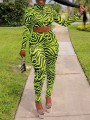Neon Green Zebra Pattern Print Zipper Grenadine High Neck Long Sleeve Sheer Bodysuit Long Jumpsuit