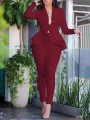 Burgundy Layers Of Ruffle Buttons Tailored Collar V-neck Peplum Blazer Suits Two Piece High Waisted Work Long Jumpsuit