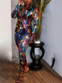 Black Sequin Colorful Print Tailored Collar Long Sleeve Blazer High Waisted Long Jumpsuit