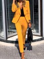 Yellow Button V-neck Turndown Collar Blazer Two Piece Long Jumpsuit