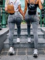 Grey Patchwork Zipper High Waisted Fashion Jeans Leggings