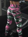 Pink Camouflage Elastic Waist High Waisted Long Legging