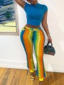 Yellow Rainbow Striped Pockets Party High Waisted Bell Bottomed Flares Long Pant