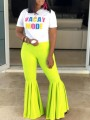 Neon Yellow Draped High Waisted Extreme Flare Bell Bottom Vintage Long Pants
