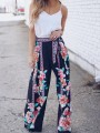 Blue Floral Pattern Loose Wide Leg High Waisted Fashion Pants