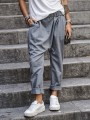 Grey Patchwork Pockets Irregular Elastic Waist New Fashion Latest Women Pants