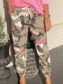 Green Camouflage High Waisted Loose Boyfriend Long Pants