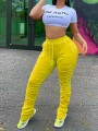 Yellow Drawstring Pockets Pleated Scrunch Casual Sports High Waisted Long Pant