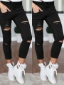 Black Cut Out Drawstring Ripped Destroyed Bodycon Going out Pants