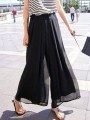 Black Pockets Draped High Waisted Chiffon Bohemian Wide Leg Long Pants
