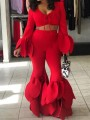 Red Cascading Ruffle High Waisted Flare Bell Bottom Long Pants