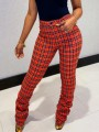 Red-Black Plaid High Waisted Pleated Ruched Flare Bell Bottom Casual Long Pants