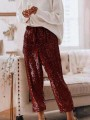 Burgundy Sequin Drawstring High Waist Loose Glitter Sparkly Birthday Party Long Pants
