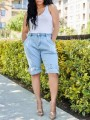 Light Blue Pockets Belt High Waisted Denim Five's Shorts