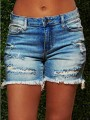 Blue Patchwork Tassel Pockets Ripped Distressed High Waisted Casual Denim Shorts