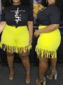 Yellow Patchwork Tassel High Waisted Plus Size Casual Denim Shorts