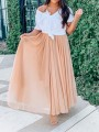 Pink Patchwork High Waisted Grenadine Ankle Length Chiffon Skirt