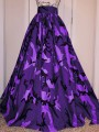 Purple Camouflage Pleated Big Swing Plus Size High Waisted Long Skirt