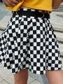 Black-White Plaid Pleated High Waisted Cute Party Skirt