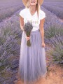 Purple Patchwork Grenadine Pleated High Waisted Party Long Skirt
