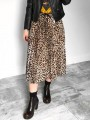 Brown Leopard Print Drawstring Pleated High Waisted Fashion Skirt