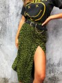 Army Green Leopard Print High Waisted Slit Fashion Skirt