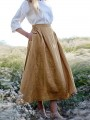 Khaki Pockets Draped High Waisted Fashion Maxi Skirt