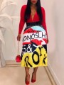 Yellow Colorful Letter Print Pleated Hippy Rock and Roll Casual Skirt