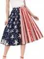 White 4th July American Flag Print Independence Day Draped Elastic Waist High Waisted Tutu Midi Skirt