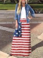 Red American Flag Print Independence Day High Waisted Festival Skirt